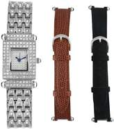 Peugeot Women's 691S Siver-tone Interchangeable Strap Crystal Pave Dial Gift Set Watch