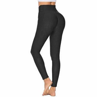 SotRong Womens High Waist Textured Black Leggings Ankle Length Yoga Pants Squat Proof Workout Sports Tight Ladies Gym Wear S