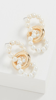 BaubleBar Imitation Pearl and Gold Link Earrings