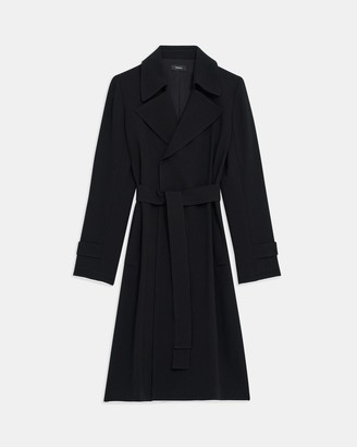 Theory Oaklane Trench Coat in Contrast Crepe