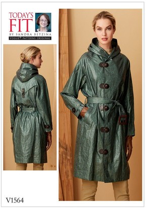 Vogue Raincoat with Hood and Belt Sewing Pattern, 1564