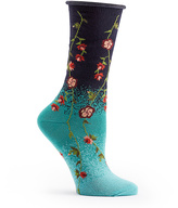 Ozone Navy Tibetan Flowers Socks