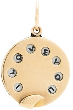 """Stephanie Windsor Antique 18K Yellow Gold """"I Love You"""" Phone Dial Charm"""