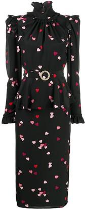 Alessandra Rich Heart Print Midi Dress