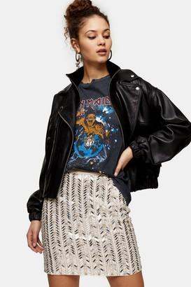 Topshop Silver Mirrored Chevron Embellished Mini Skirt