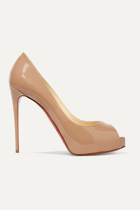 Christian Louboutin New Very Prive 120 Patent-leather Platform Pumps - Beige