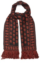 Alexander McQueen Skull-jacquard wool scarf