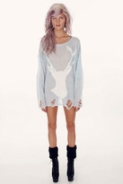 Wildfox Couture White Stag Lennon Sweater in Hazy Blue