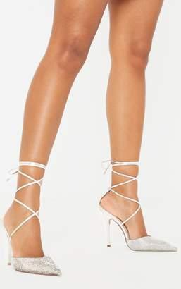 PrettyLittleThing Black Diamante Toe Ankle Tie Court Shoe
