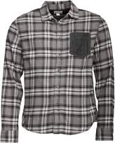 Converse Mens Heavy Flannel Contrast Pocket Checked Long Sleeve Shirt Charcoal Grey