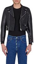 Balenciaga Men's Leather Shrunken-Fit Moto Jacket-BLACK