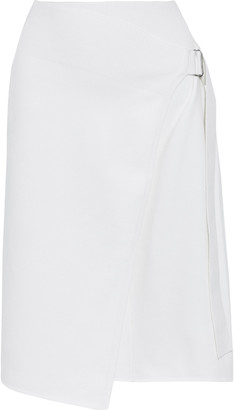 Helmut Lang Wrap-effect Buckle-detailed Stretch-knit Skirt