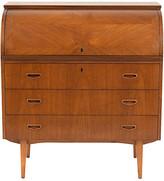 One Kings Lane Vintage 1960's Danish Teak Wood Roll Top Desk - Castle Antiques & Design - light walnut