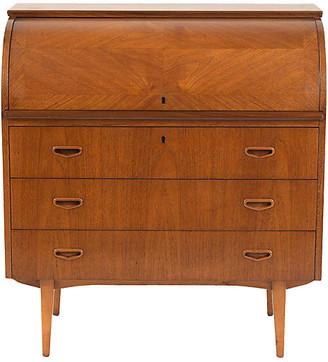 One Kings Lane Vintage 1960's Danish Teak Wood Roll Top Desk - Castle Antiques & Design