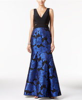 Xscape Evenings Petite Illusion Floral Brocade Mermaid Gown