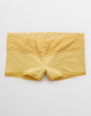 aerie Cotton Lace Trim Boyshort Underwear