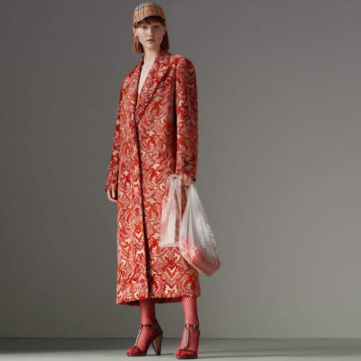 Burberry Damask Velvet Jacquard Tailored Coat , Size: 06