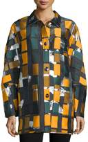 Opening Ceremony Button-Front Geometric-Print Coat, Black/Multi