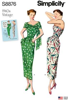 Simplicity Women's Vintage Dress Sewing Pattern, 8876