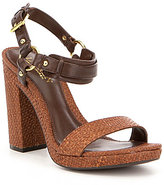 Lauren Ralph Lauren Faustine Leather Banded Ankle Strap Block Heel Sandals