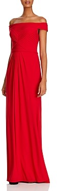 Adrianna Papell Pintucked Off-The-Shoulder Gown