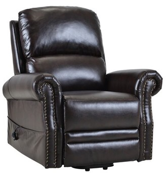 Red Barrel Studio Aryion Faux Leather Power Lift Assist Recliner Leather Type: Dark brown