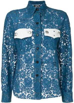 Calvin Klein colour-block lace shirt