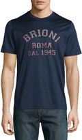 Brioni Logo Crewneck T-Shirt, Blue Solid