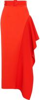 SOLACE London Kaya asymmetric belted charmeuse maxi skirt