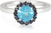 Forzieri 0.27 ct Diamond Pave 18K White Gold Ring w/Blue Topaz