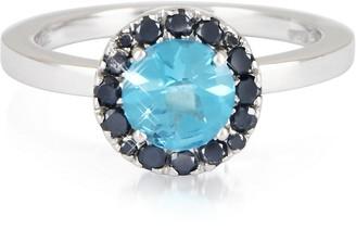 Forzieri 0.27 ct Diamond Pave 18K White Gold Ring w/Blue Topaz