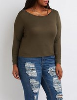 Charlotte Russe Plus Size Ribbed Skimmer Tee