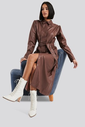 NA-KD Faux Leather Belted Shirt Midi Dress