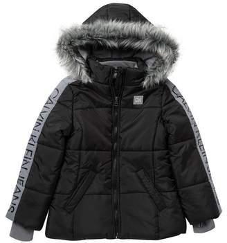 Calvin Klein Sleeve Logo Puffer Jacket with Faux Fur Trim Hood (Big Girls)