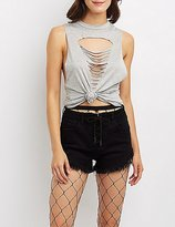 Charlotte Russe Distressed Muscle Tee