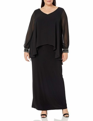 Alex Evenings Women's Plus Size Long V-Neck Column Dress with Illusion Sleeves