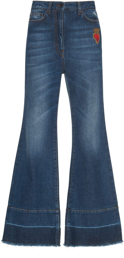 Dolce & Gabbana Embroidered High-Rise Flared Jeans