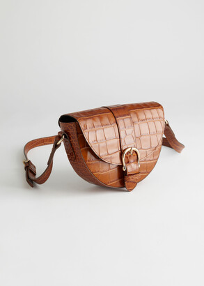 And other stories Croc Embossed Small Leather Bag