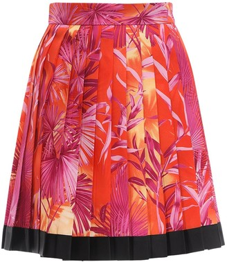 Versace Pleated Jungle Print Twill Mini Skirt