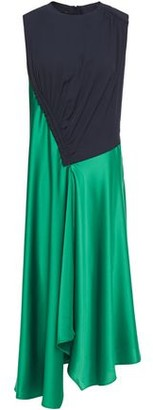 Cédric Charlier Asymmetric Two-tone Twill And Satin-crepe Dress