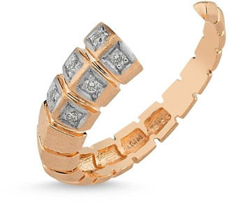 Selda Jewellery Dragon Open Ring With White Diamond