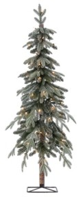 Sterling 5Ft. Pre-Lit Flocked Natural Cut Alpine Tree with 70 Clear Lights