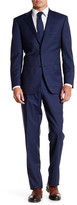 Ike Behar Navy Sharkskin Two Button Notch Lapel Wool Suit