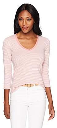 Three Dots Women's Montauk Stripe 3/4 SLV Short Tight v-Neck Shirt