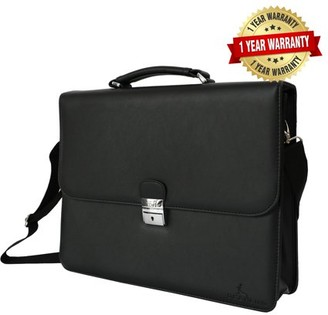 Deerlux DEERLUX Black Genuine Leather Laptop Briefcase, Mens Business Messenger Bag