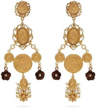 Dolce & Gabbana Charm Drop Clip Earrings - Gold