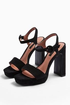 Topshop WIDE FIT SATURN Black High Platform Shoes