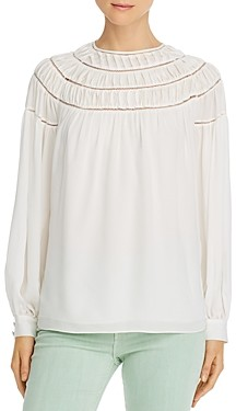 Frame Pleated-Panel Silk Top