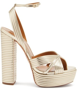 Aquazzura Sundance 140 Metallic-leather Platform Sandals - Gold
