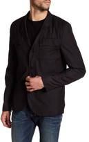 Kenneth Cole New York Black Pinstripe Zip Notch-Lapel Blazer Jacket